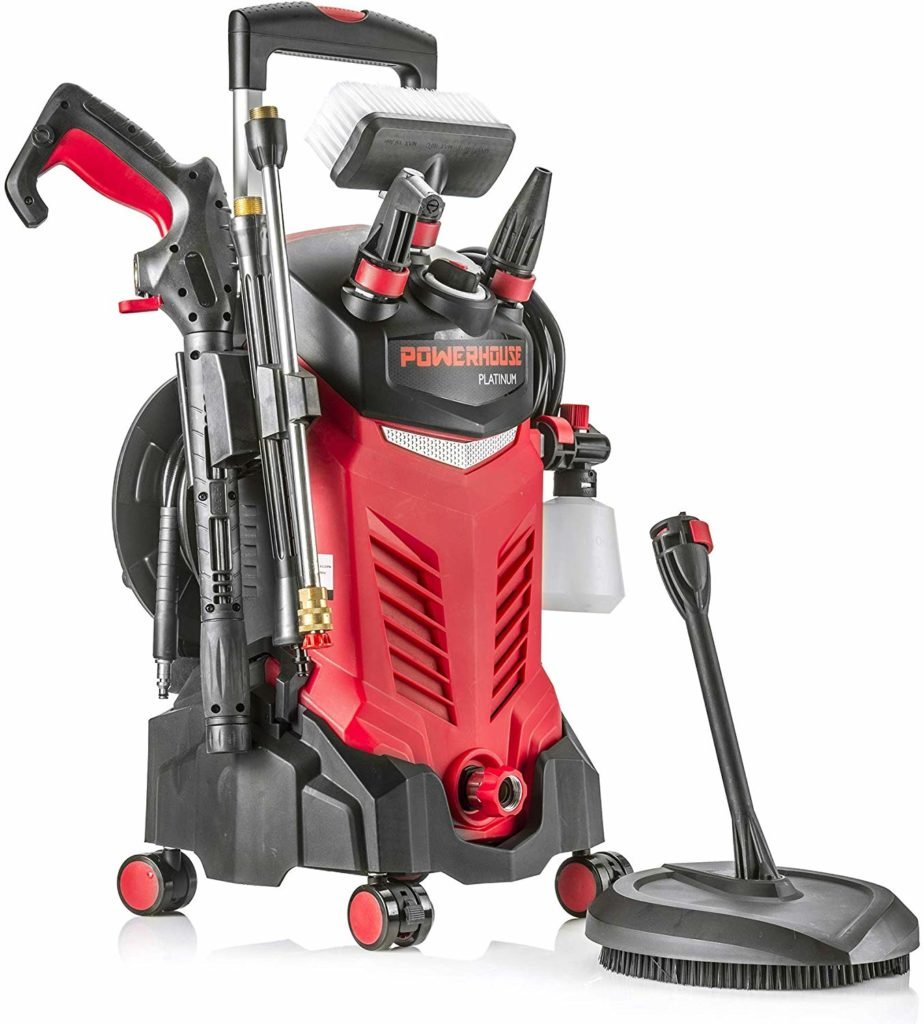 Powerhouse International Platinum 3000 PSI electric pressure washer (red).