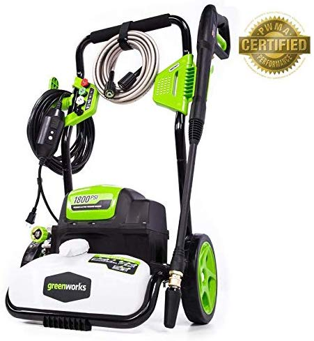 Reviewed in this article: the Greenworks GPW1700 electric pressure washer.
