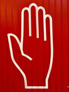 Safety hand sign.